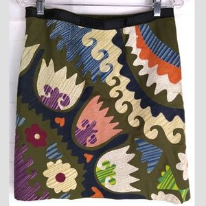 Anthropologie Boho Sz 10 Green Embroidered Skirt